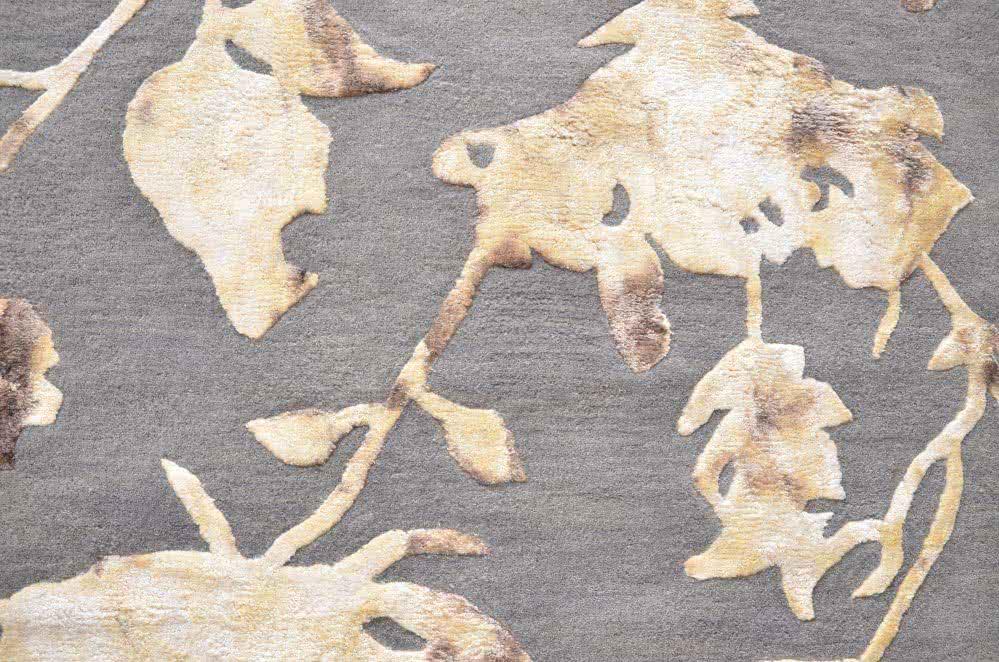 Wollteppich beige  Handgetuftete Wollteppiche mit Viskose- Design